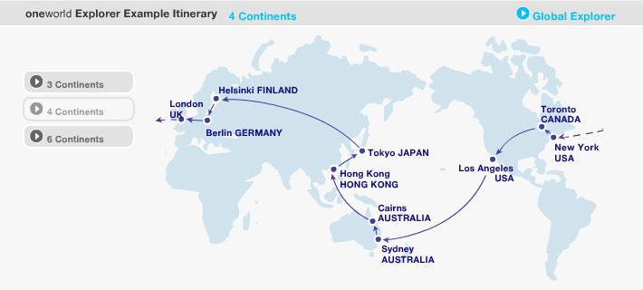 4 continents oneworld explorer